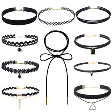 Hollow Designs Black Leather Velvet Choker Necklace Layer Chockers Vintage Gothic Jewelry Goth Necklace for Women Collier Femme artificial leather velvet cucurbit choker necklace