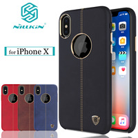 For IPhone X Case Nillkin Englon Magnetic Holder Vintage Luxury PU Leather Phone Protective Cover For