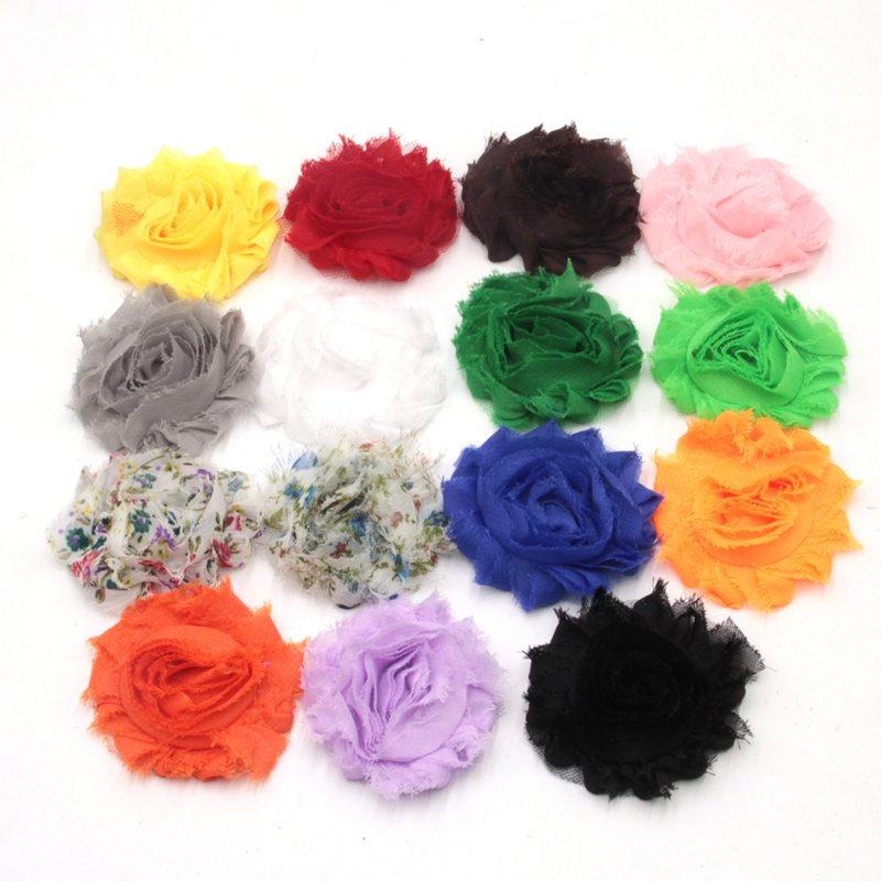 34ps lot 7 Colors Free shipping 2 5 Chic Shabby Frayed Flower With Clips Children Hair