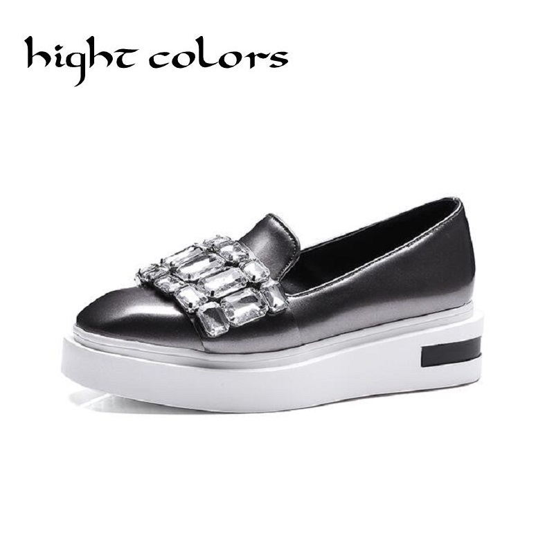 Crystal Loafers Square Toe Platform Shoes Woman 2017 Rhinestone Creepers Slip On Flats New Casual Women Shoes Green Grey US 10.5  qmn women genuine leather flats women horsehair loafers retro square toe slip on flat platform shoes woman creepers 34 42