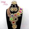 Nova moda Africano contas Conjunto de Jóias Colar brincos Flor Contas de Cristal conjunto de Jóias Nigeriano womenBracelet Acessório W776