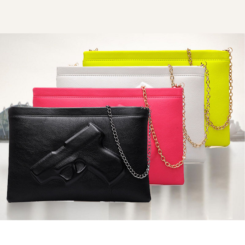 Gun Women Clutches Bag Evening Clutch Bags Leather Handbags Day Purses And Black White Chain In From Luggage