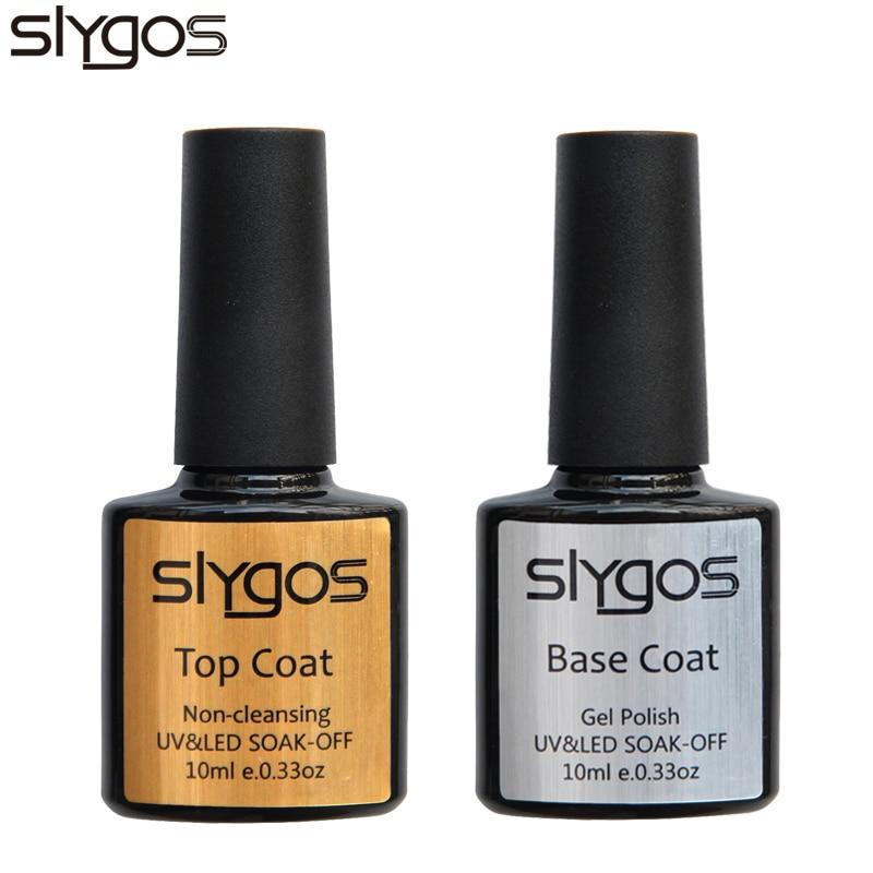 SLYGOS Soak Off TOP BASE COAT UV LED Nail Gel Polish Base Gel Nail Art Manicure Long Lasting Professional Gel 2pcs Set 10ML in Nail Gel from Beauty Health