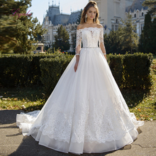 Liyuke 2019 Ball Gown Wedding Dress Lace Three Quarter