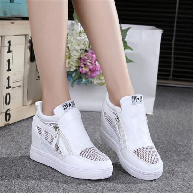 New 2017 Brand Designer Shoes Woman Summer Spring Women Increased Platform Elevator Shoes Thick Bottom Zipper Women Oxford Shoe