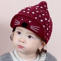 Hats For Baby Girls Boy Knit Cat Pattern Cotton Autumn Warm Toddler Baby Girl Kids Winter