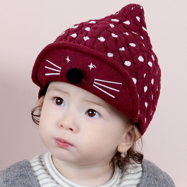 Hats For Baby Girls Boy Knit Cat Pattern Cotton Autumn Warm Toddler