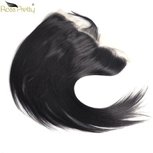 Ross Pretty Remy Hair Frontal Pre Plucked Straight Human Lace Closure Baby 13X4 Free Part and Middle