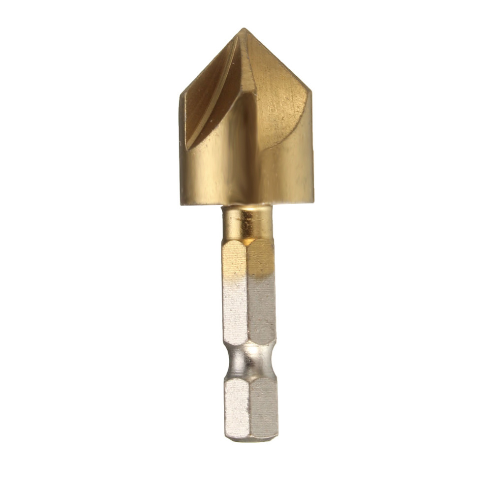 "Купить с кэшбэком 6PCS 5 Flute Chamfer Countersink 1/4"" Hex Shank HSS 90 Degree Wood Chamfering Cutter Chamfer 6mm-19mm Countersink Drill Bit"