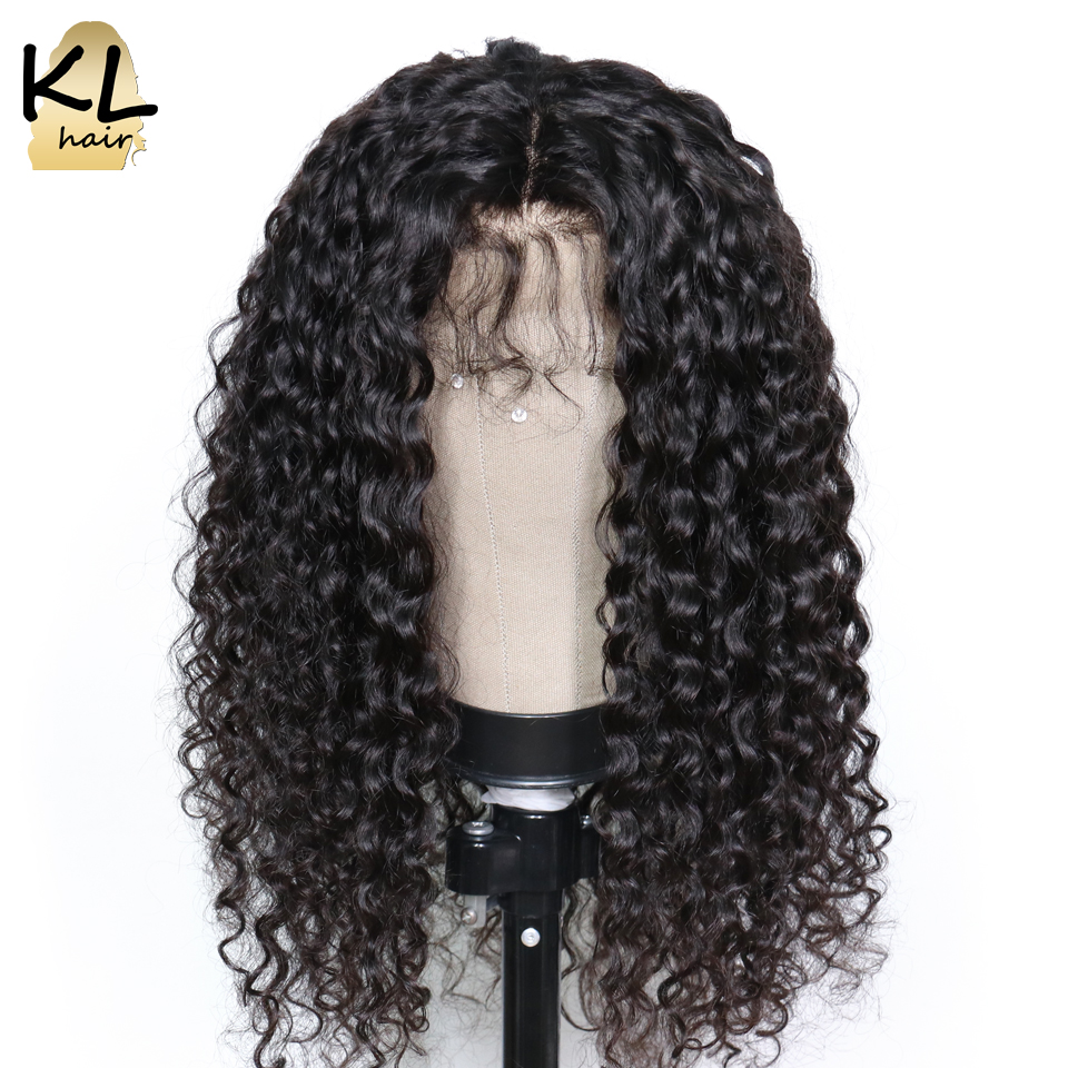 Lace Front Human Hair Wigs For Women Natural Black 180 Density Deep Wave Brazilian Remy Hair