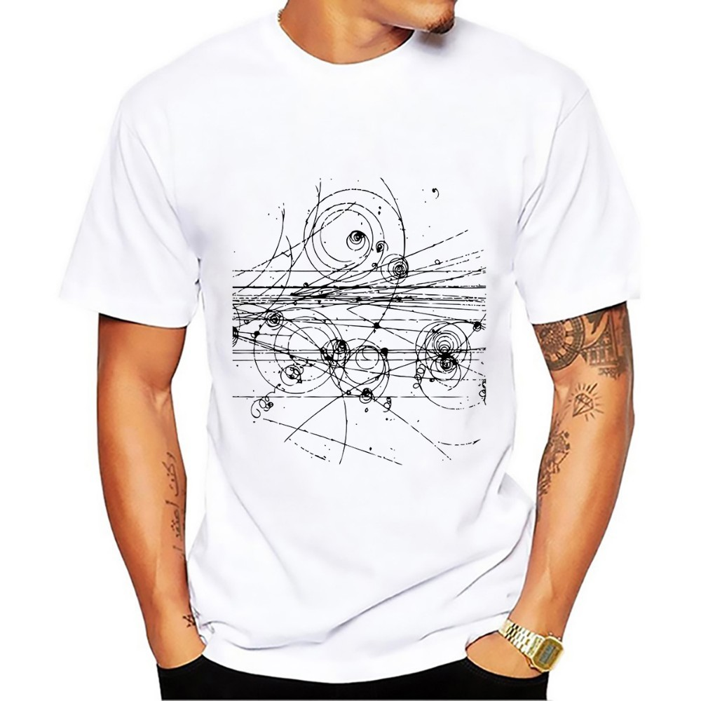 The Path Of Subatomic Particles In A Hydrogen Bubble Chamber GEEK T Shirt Men New White Casual Tshirt Homme Funny T-shirt