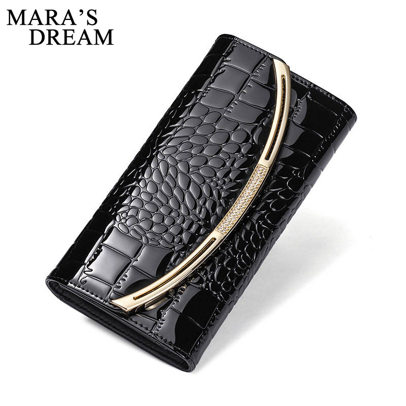 Mara's Dream Wallet Women Genuine Leather Purse Alligator Pattern Womens Wallets and Purses Real Leather Ladies Money Bag Wallet