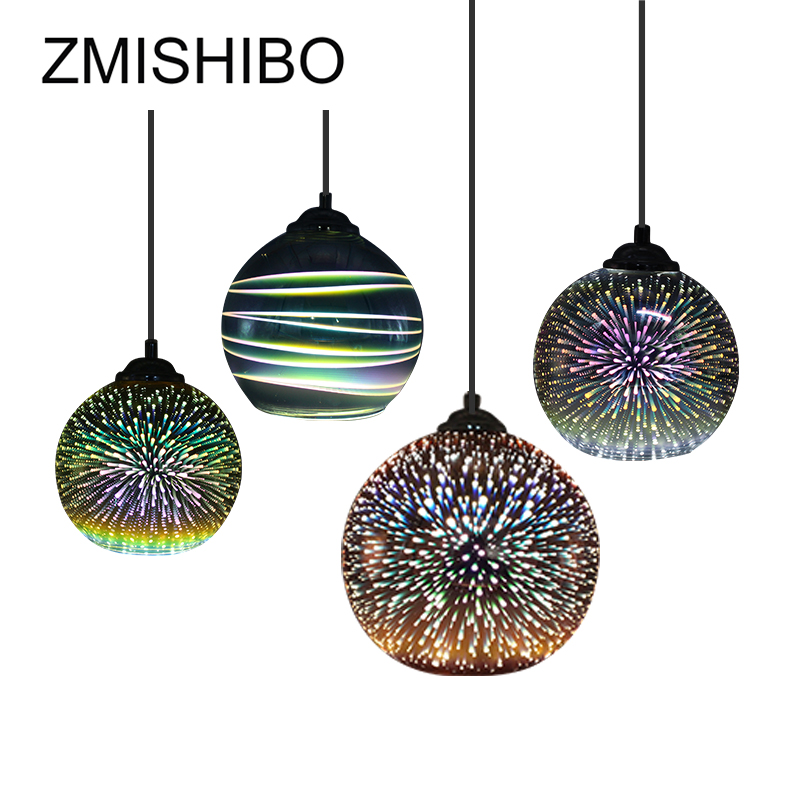 ZMISHIBO 3D Fireworks Glass Pendant Lights LED E27 Hanging Lamp Lampshade Living Room Dining Room Home Decor Lighting Fixtures