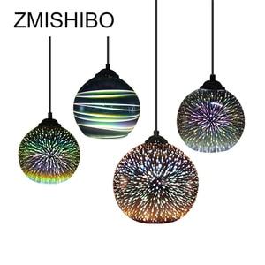 Image 1 - ZMISHIBO ثلاثية الأبعاد الألعاب النارية الزجاج قلادة أضواء LED E27 مصباح معلق عاكس الضوء غرفة المعيشة غرفة الطعام تركيبات إضاءة ديكوريّة منزلية