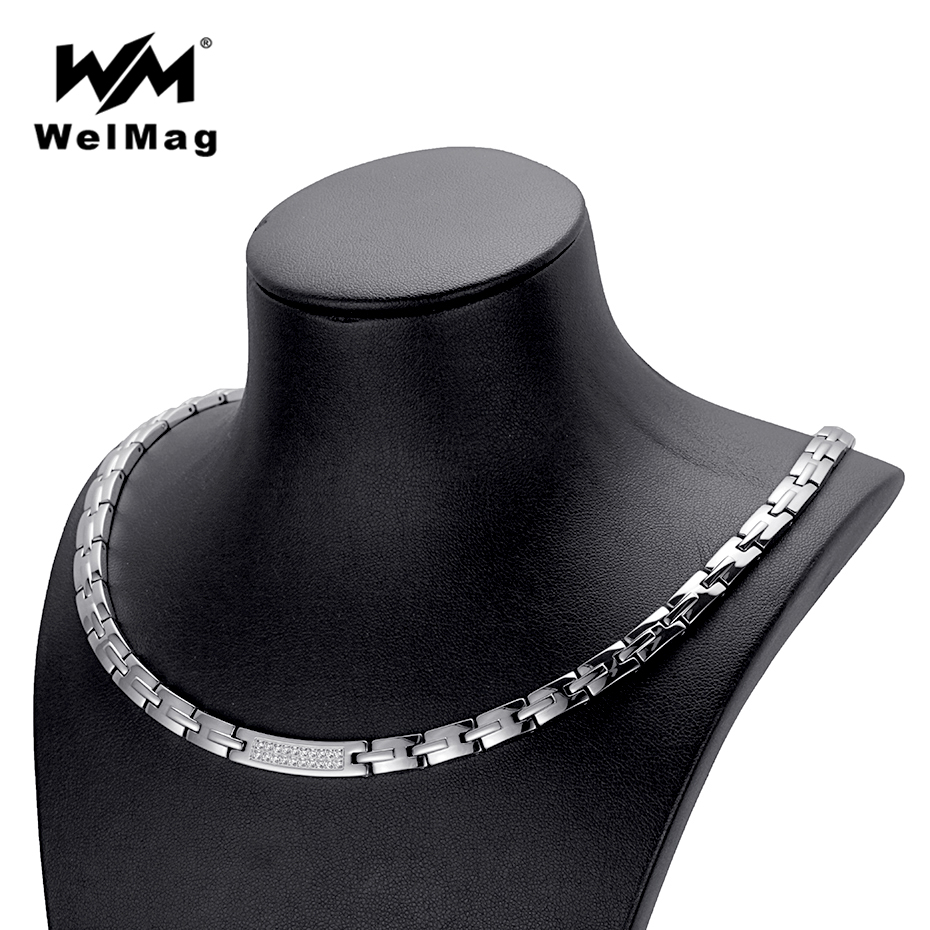 WelMag Trendy Hematite Magnetic Necklace for Women Dropshipping Crystal Stainless Steel Korean Necklaces Silver Color 2018