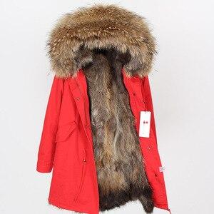 Image 5 - Maomaokong אמיתי שועל פרווה מעיל חורף מעיל נשים ארוך Parka טבעי דביבון פרווה צווארון הוד עבה חם נדל פרווה אניה מעיילי
