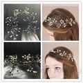 Moda Floral de Prata Banhado Acessórios Para o Cabelo de Noiva Artesanal Simulado-pérola Mulheres Jóias Cabelo Headpiece Casamento Flowergirl