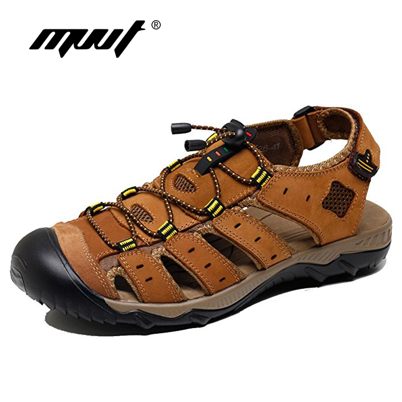 Classic 2018 Quality Cow Leather Sandals Men Handmade Comfort Men Beach Sandals Non Slip Outdoor Summer Shoes Sandals For Men