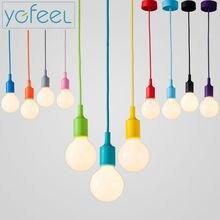 Modern Color Pendant Lights E27 Holder AC90-260V Silica Gel Material Store Art Single Head Dining-room Pendant Lamps