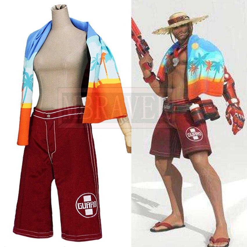 Jeu OW Jesse McCree Plage Ranger Maillot de Bain D'été Jeux Peau Cosplay Costume Halloween Uniforme Outfit Faite Sur Commande N'importe Quelle Taille
