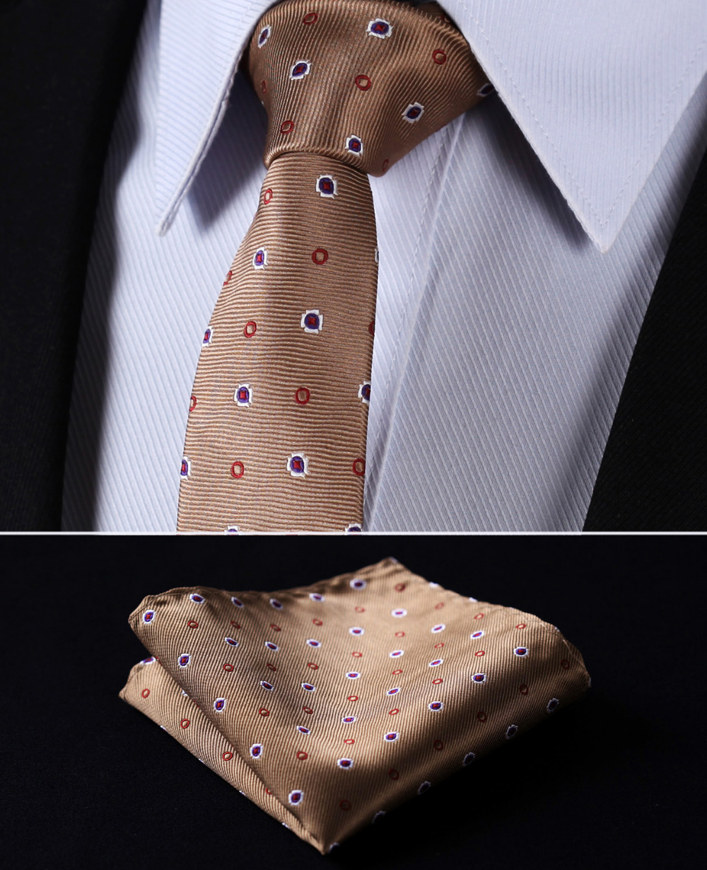 "TD703Z5 Brown Purple Polka Dot 2.17"" 100%Silk Woven Slim Skinny Narrow Men Tie Necktie Handkerchief Pocket Square Suit Set"