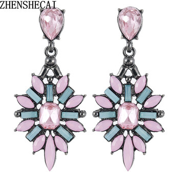 Colorful Flower Big Luxury Drop Earring