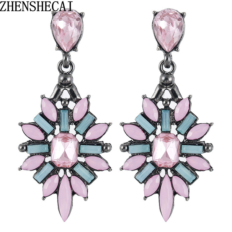 2018 New Fashion Colorful Flower Big Luxury Drop Earring Pendant Crystal Gem Statement Earrings Jewelry Wholesale A28
