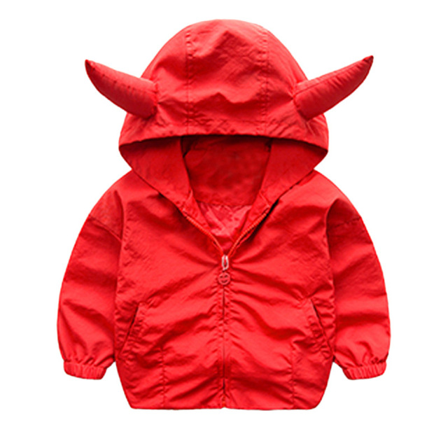 Sping Autumn Children Coat 2018 New Baby Boys Girls Devil Hooded Black Red Color Jackets Baby Boy Tops Outwear Kids Clothes