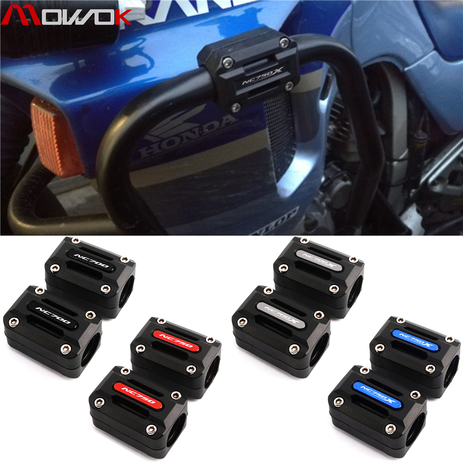 For HONDA NC750X NC750S NC700X NC750 NC700 NC750 S X Motorcycle Engine Protection Guard Bumper Decor Block 22-25-28mm with LOGO Color : NC750X Blue