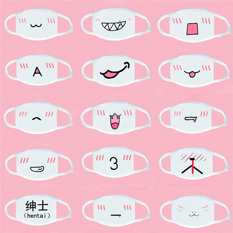 16 Style White Cute Cartoon Funny Smily Mouth Cotton Half Mouth Mask Anti-bacterial Dust Winter Warm Emotiction Masks