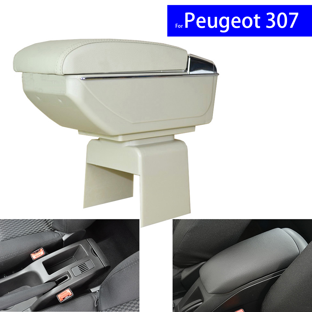 Leather Car Center Console Armrest Box for Peugeot 307 / Citroen Elysee 2003 ~ 2009 2010 2011 2012 2013 2014 Armrests with USB leather car interior parts center console armrest box for mg3 2011 2012 2013 2014auto armrests with usb cup holder free shipping