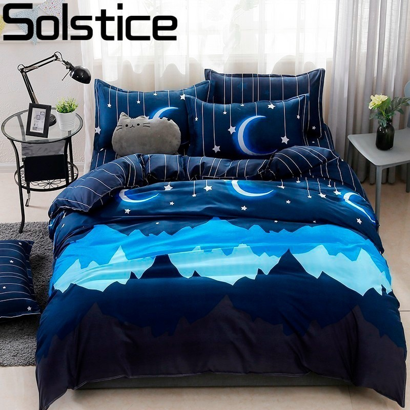 Solstice Pillowcase Bedding-Sets Quilt-Cover Flat-Sheets Comfort Soft Blue Cartoon Sky