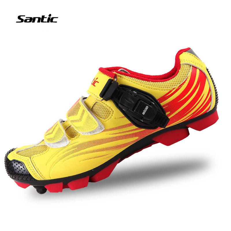 Santic Men's Athletic MTB Mountain Bike Bicycle Cycling Shoes Outdoor Sportswear Equipment Clothing- Color Yellow Red