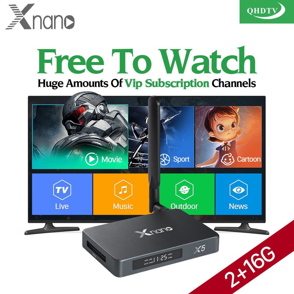 Xnano TV BOX Android 6.0 2G 16G Smart 4K Quad Core HDR Movie Set-top Box 3 6 12 Months QHDTV Code Turkish French Arabic IPTV Box android smart tv box mini pc quad core intel atom z3735f 2 32gb iptv android 4 4 windows10 hdmi set top box stick bluetooth 4 0