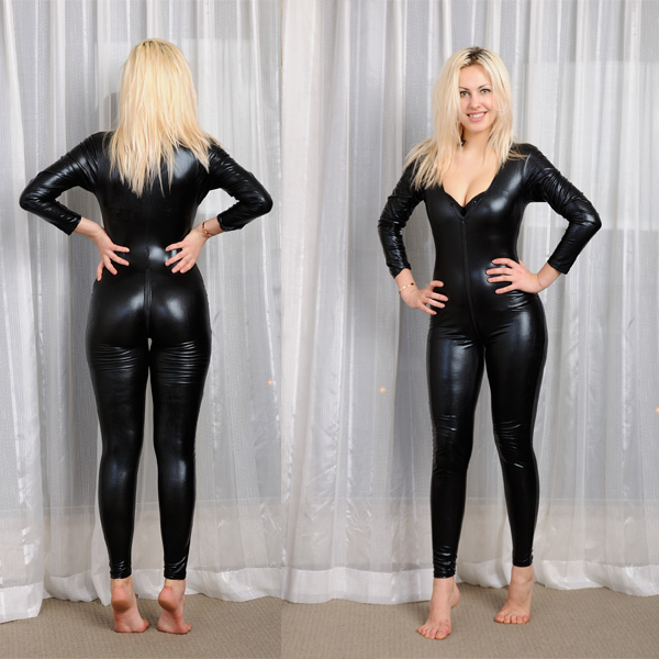 Free Shipping Plus Size S M L Xl Black Vegan Leather Rubber Flexible Catsuit Jumpsuits -1236