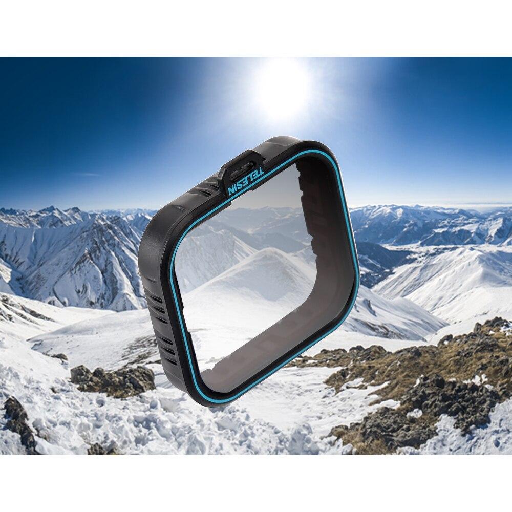 TELESIN Polarisierende Filter Polarisator Filter CPL Objektiv Filter + Objektiv Kappe für GoPro Hero 5 6 7 Schwarz Fotografie Zubehör