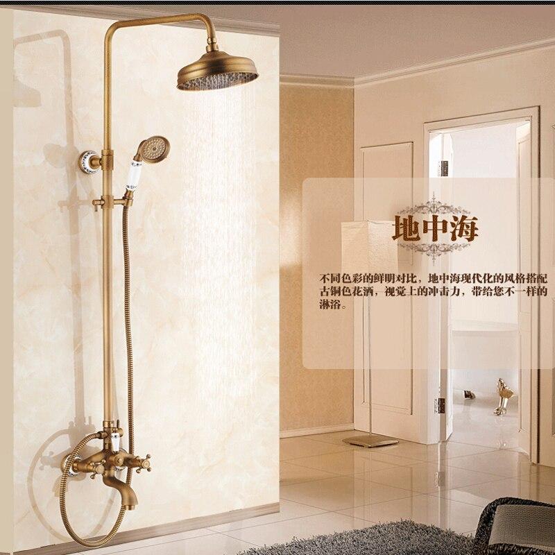 Wholesale And Retail Ceramic Style 8 Round Rain Shower Head Faucet Tub Spout Dual Cross Handles Hand Shower Mixer Tap