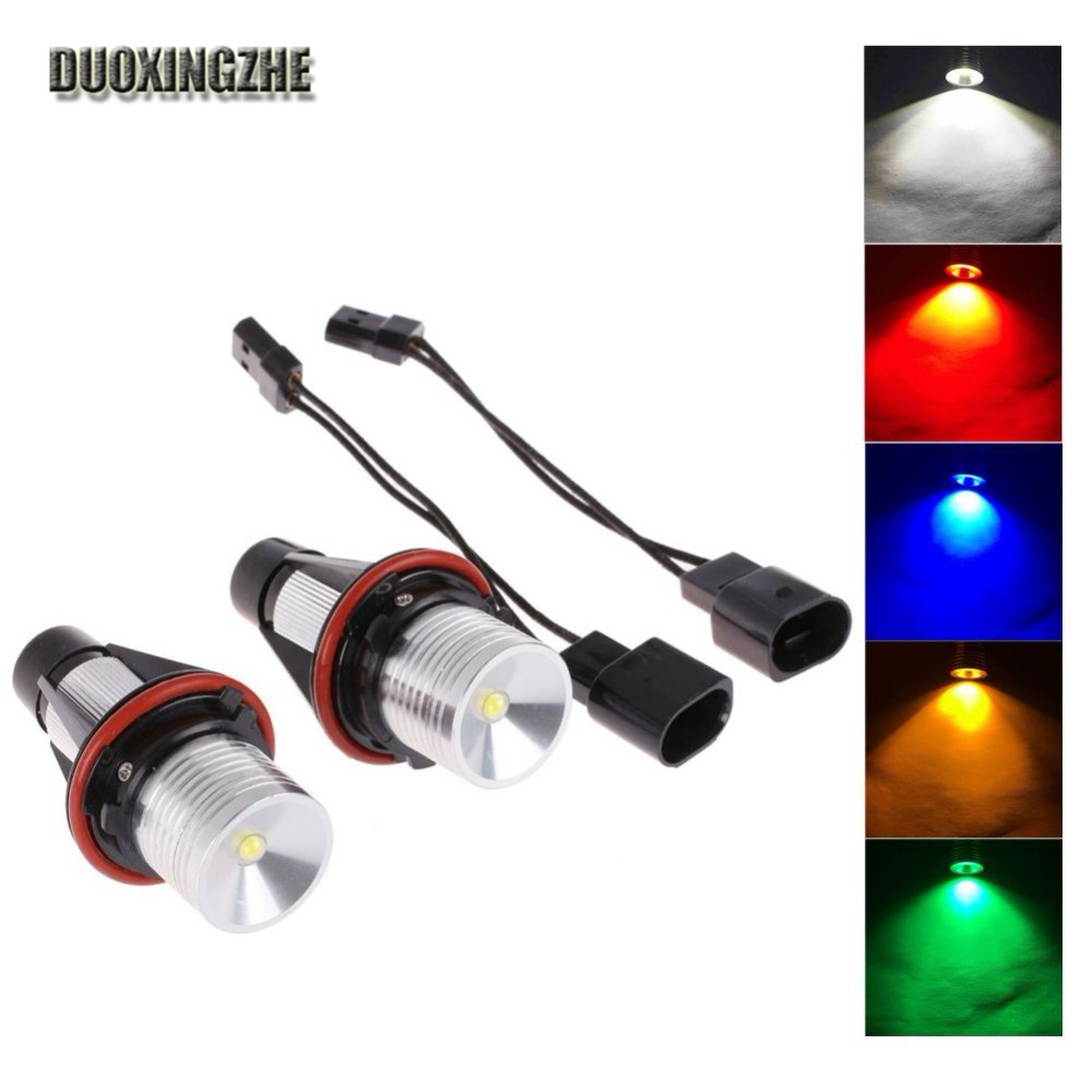 2*5W for Bridgelux LED Chips LED Marker Angel Eyes White Blue Red Yellow Green Color for BMW 39 E53 E60 E61 E63 E64 new e39 rgbw ir remote control led marker angel eyes for bmw e87 e60 e61 e63 e64 e65 e66 e53 e83 x5 rgb color changing lighting