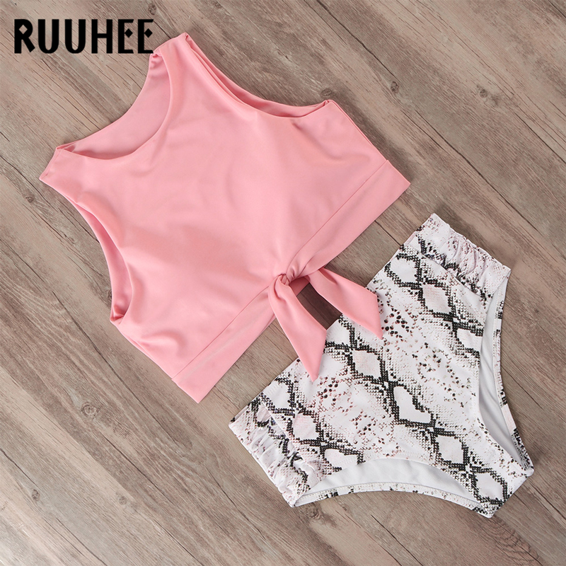 RUUHEE Swimsuit Women Bikini 2019 Mujer Swimwear High Waist Bikini Set Sport Tops Bathing Suit Women Padded Beach Wear Biquinis