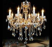 Hot Selling Champagne Chandelier Luxury K9 Crystal Chandelier Lighting D600MM H700MM E14 LED Modern Crystal Bedroom