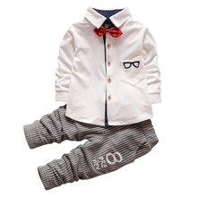 Baby Boys 2Pcs Cotton Outfits Cloth Set Long Sleeve Glasses Printed Tops Shirt with Necktie Striped Pants