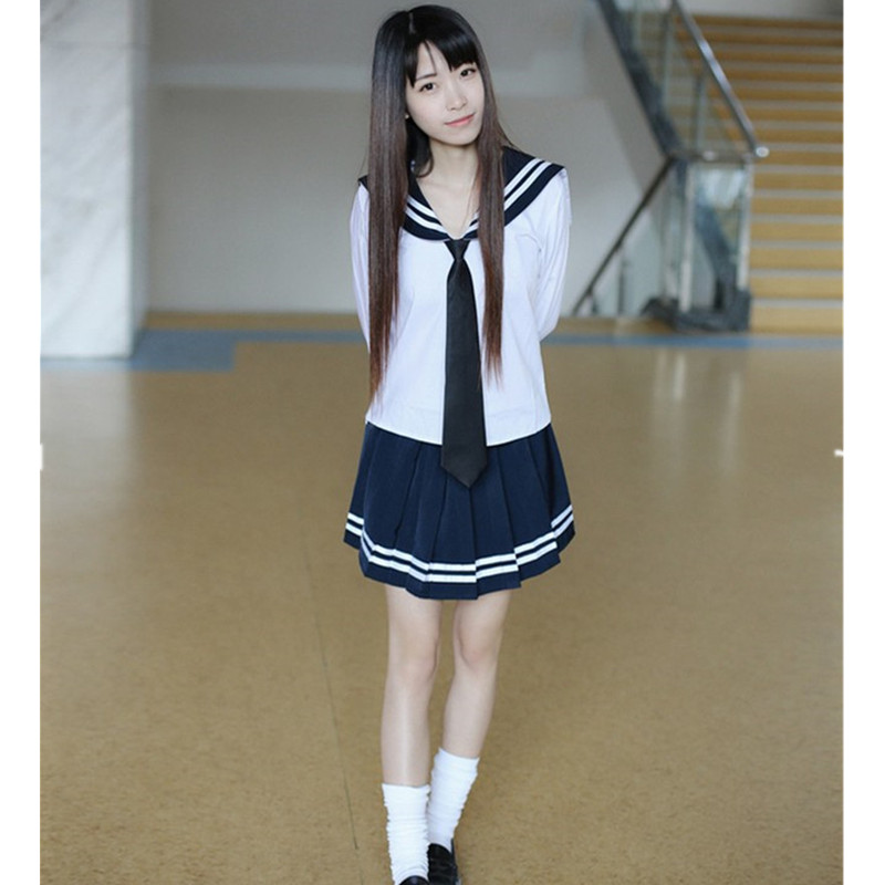 2Pcs T Shirtskirt Sets Navy Sailor Collar School Uniform -4213