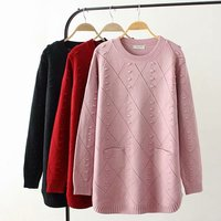 Plus size autumn winter O Neck women Knitted pullovers 2018 pink & dark red & black hollow out ladies sweater wool female 4XL