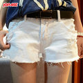 Female Summer plus size cotton The Hole In The Summer Denim Shorts women thin soft straight shorts