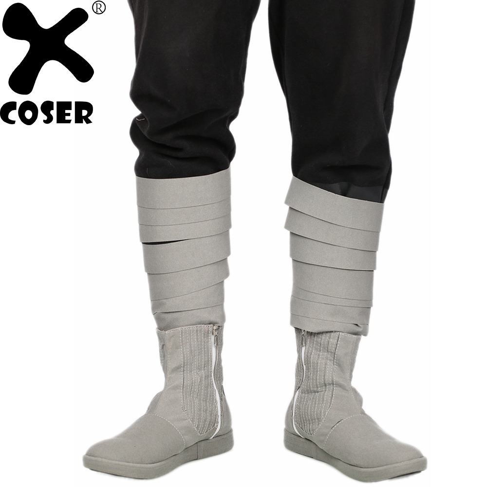 XCOSER Star Wars VIII Cosplay Shoes Luke Skywalker Gray Cow Suede Ankle-boots Shoes 2018 Halloween Women Men Movie Cosplay Boots