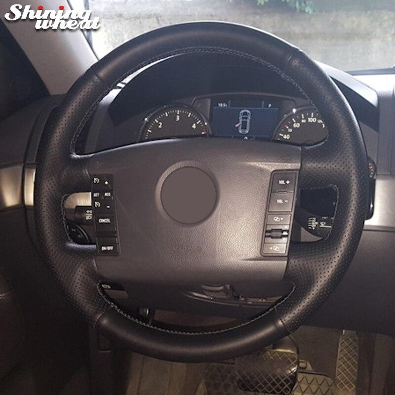 BANNIS Mão-costurado Preto Tampa Da Roda de Direcção Do Carro de Couro para Volkswagen VW Phaeton 2004-2009