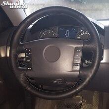 Trigo brillante Cuero Negro cosido A Mano Cubierta Del Volante Del Coche para Volkswagen VW Phaeton 2004-2009