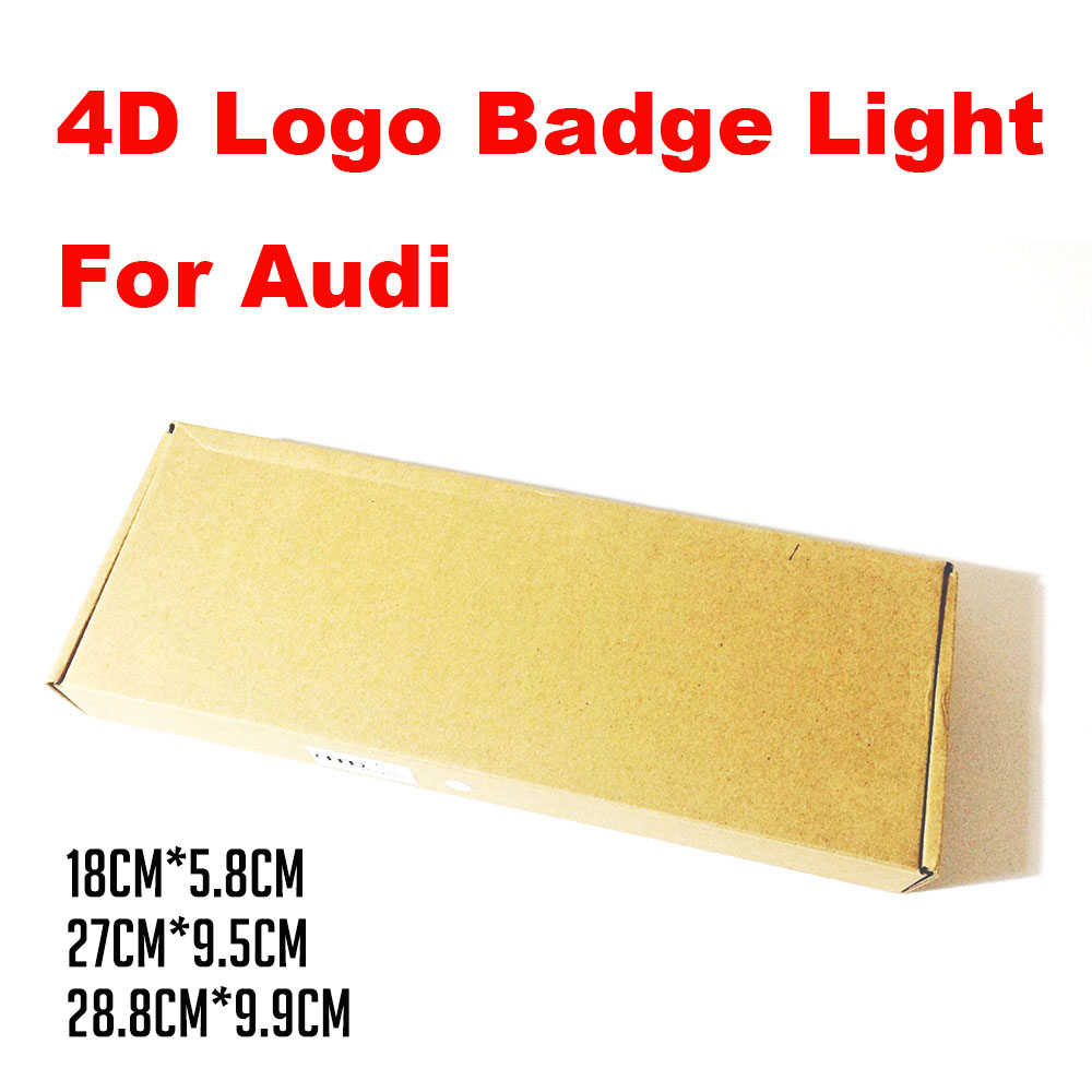AEING 4D Front/Rear Black badge emblem Logo light Sticker For AUDI Q5 Q3 A1 A3 A4L A5 A6 A8 28.8cm*9.9cm/27cm*9.5cm/18cm*5.8cm image