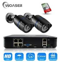 WOASER HD 48V 1080P HDMI P2P 4CH POE NVR Surveillance System Video Output 720P IP Camera