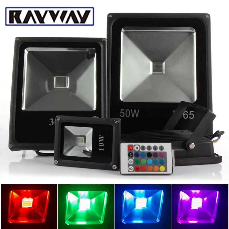 RAYWAY 10W 20W 30W 50W Remote Control RGB LED Flood Light COB Waterproof Street Light Outdoor Garden Landscape Spot Floodlight